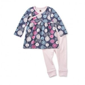 Tea Collection Pink Baby Puff Dress Outfit Floral